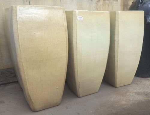 Glazed Tall Milan Planter - 410 x 860 H mm - Sand (Beige/Cream)